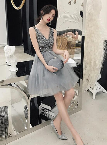 Fashionable V-neckline Grey Beaded Party Dress, Homecoming Dress 2020