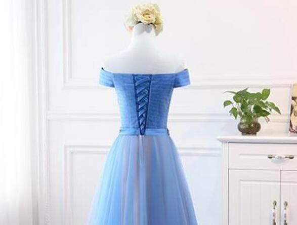 A-line Long Tulle Blue Off Shoulder Party Dress, Blue Prom Gown