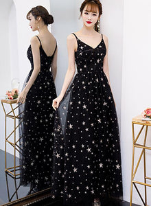 Lovely Black V-neckline Straps Long Evening Gown, Black Party Dress 2020