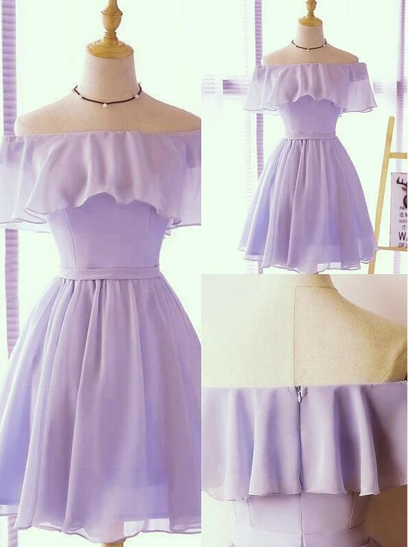 Cute A-line Light Purple Short Chiffon Party Dress, Homecoming Dress 2020