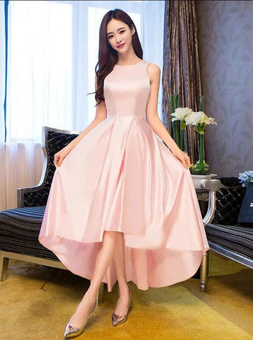 pink satin high low party dress 2020