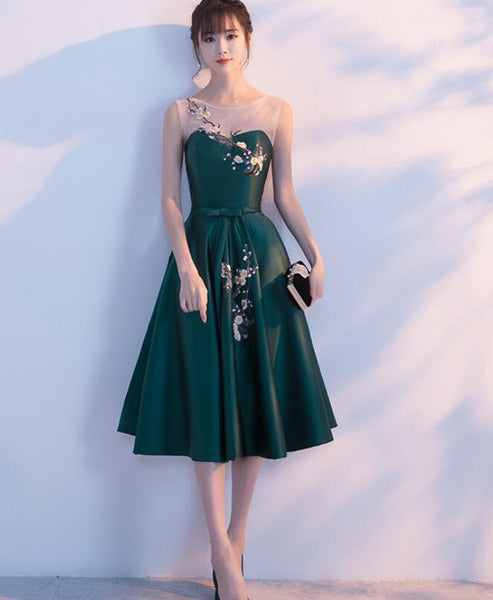 dark green tea length party dress