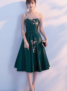 Dark Green Tea Length Satin Bridesmaid Dress, Floral Party Dress