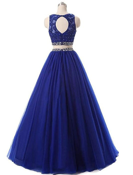 Beautiful Two Piece Tulle Beaded Party Dress, New Prom Dress