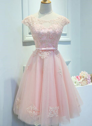 Adorable Pink Knee Length Party Dress, Lace Applique Cute Homecoming Dress