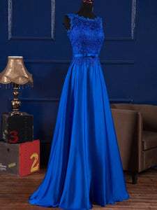 Beautiful Royal Blue Satin and Lace Long Party Dress, A-line Prom Dress