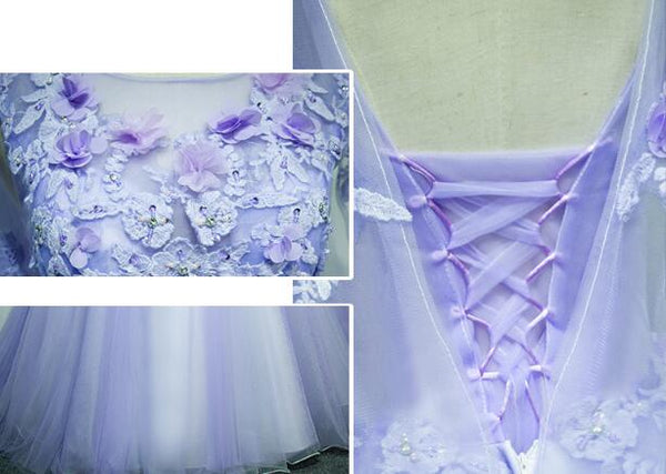Light Purple Charming Tulle Sweet 16 Gown with Lace, Flowers Formal Dress