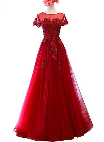 Dark Red Tulle Cap Sleeves Long Formal Dress with Lace, Long Evening Gown