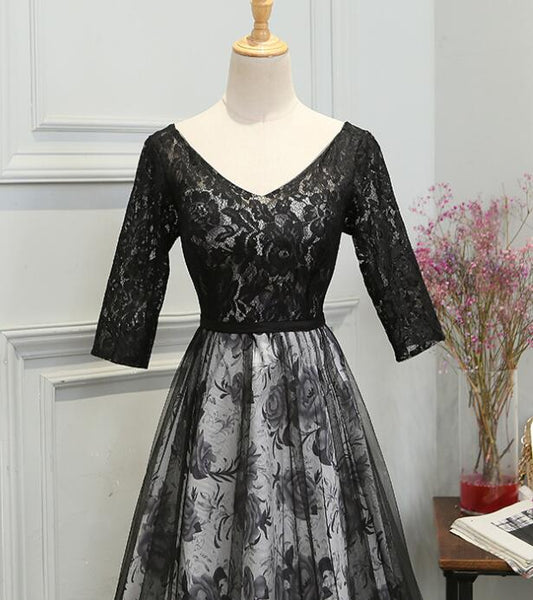Beautiful Black Lace V-neckline Short Sleeves Wedding Party Dress, Long Prom Dress