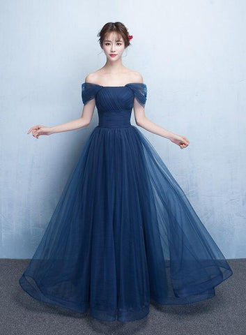 Navy Blue Off Shoulder Princess Long Party Dress, A-line Junior Prom Dress