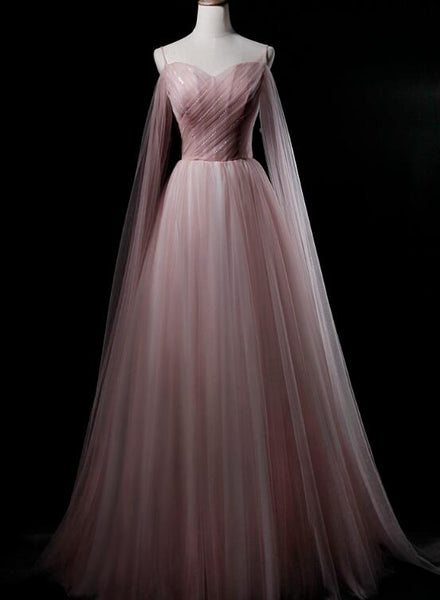 Pink Sweetheart Tulle Long Elegant Evening Dress, Pink Prom Dress