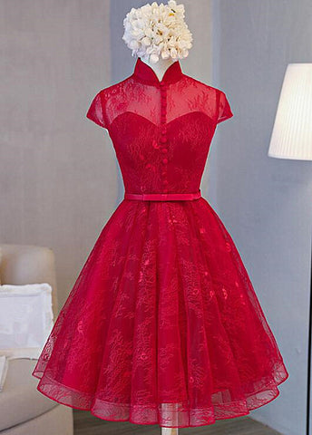 Cute Lace Short Cap Sleeves Homecoming Dress, Red Short Party Dresses