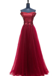 Wine Red Off Shoulder Satin and Tulle Long Prom Dress, Sweetheart Evening Gown