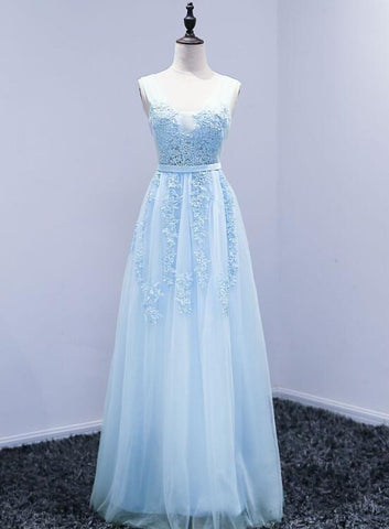 Beautiful Light Blue Tulle Long Party Dress, A-line Long Simple Bridesmaid Dress