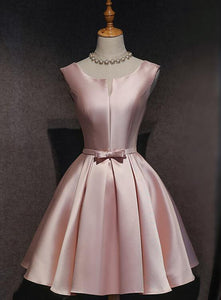 Pink Satin Short Party Dress 2020, Lovely Satin Homecoming Dress