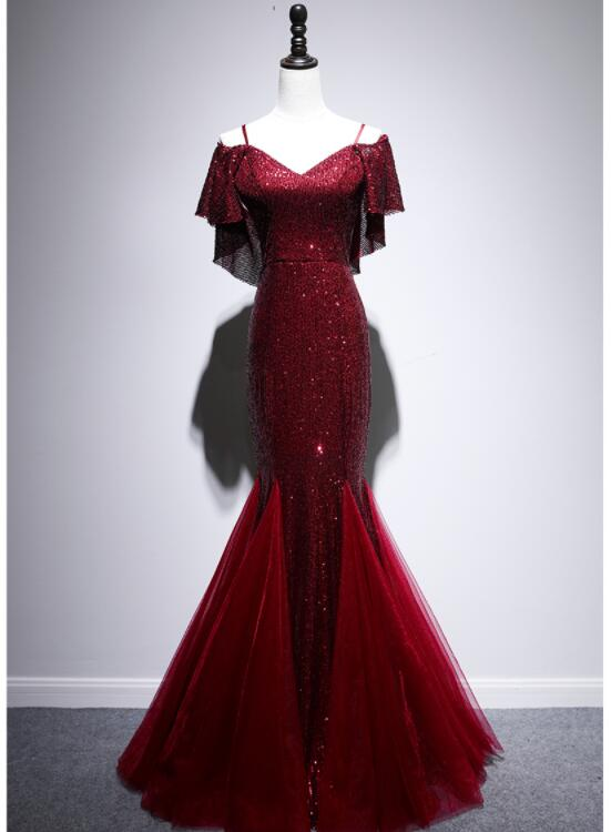 Beautiful Dark Red Sequins Mermaid Straps Long Party Dress, Fashionable Prom Dress
