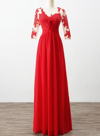 Beautiful Red Chiffon A-line Bridesmaid Dress with Lace, Long Prom Dress