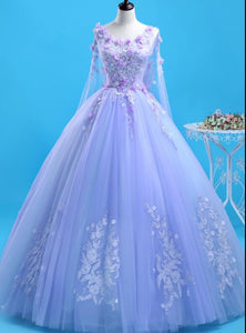 Beautiful Lavender Flowers Round Neckline Party Dress, Sweet 16 Gown