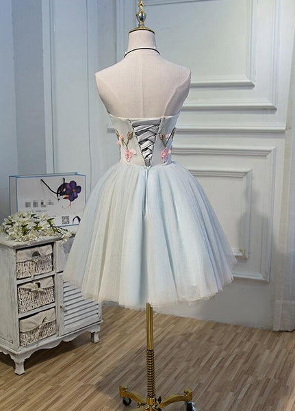 Light Blue Tulle Floral Short Sweetheart Homecoming Dress, Blue Prom Dress
