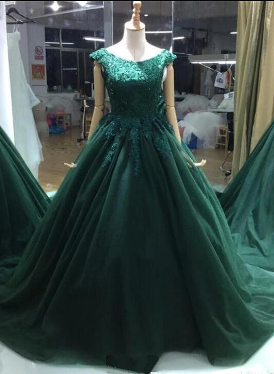 Dark Green Backless Cap Sleeves Tulle Formal Gown, Lace Applique Evening Dress Party Dress