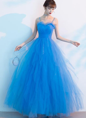 Blue Straps Sweetheart Tulle Long Formal Dress Evening Dress, Beautiful Blue Prom Dress