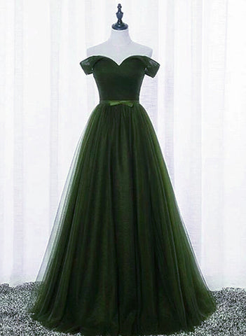 Green Off Shoulder Sweetheart Long Party Dress, A-line Floor Length Prom Dress