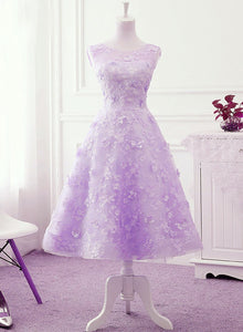 Lavender Lace Tea Length Wedding Party Dress, Vintage Style Prom Dress Homecoming Dress