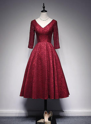 Wine Red Lace Short Sleeves V-neckline Bridesmaid Dress, Tea Length Party Dress Prom Dress