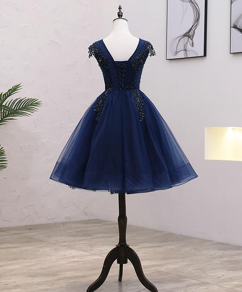 Navy Blue Tulle Beaded Knee Length Cap Sleeves Prom Dress, Blue Homecoming Dress