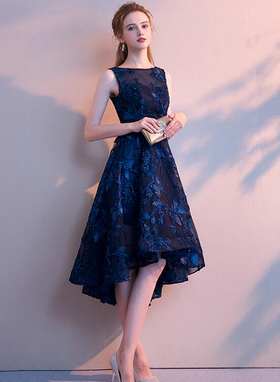 Navy Blue Lace High Low Round Neckline Party Dress, Blue Prom Dress Homecoming Dress