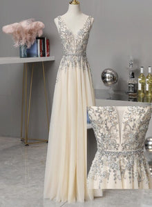 Light Champagne V-neckline Beaded and Lace Long New Prom Dress, A-line Tulle V back Party Dress