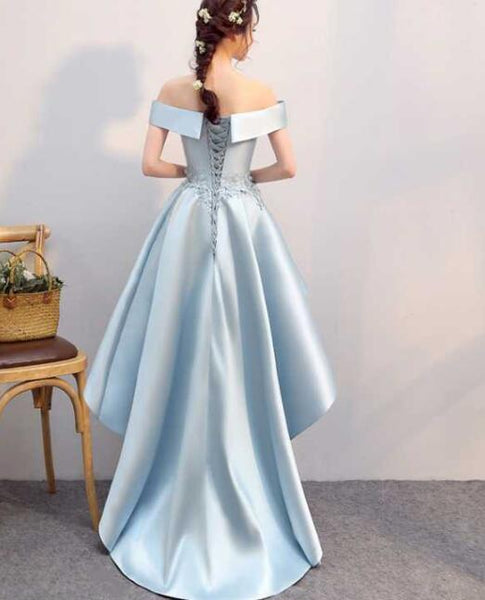 Blue Satin High Low Formal Dress, Satin Off Shoulder Wedding Party Dress