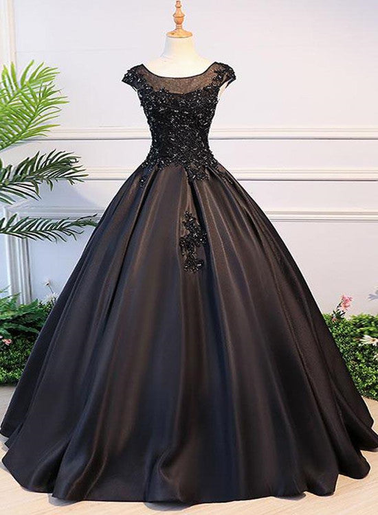 High Quality Black Satin Long Party Dress, Black Evening Gown