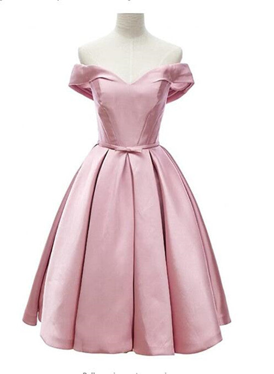 Pink Satin Sweetheart Knee Length Party Dress, Pink Homecoming Dress