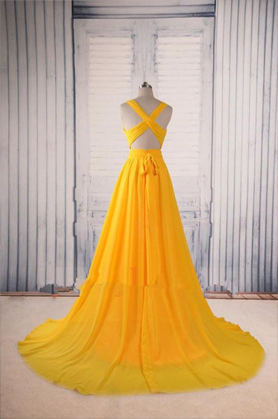 Sexy V Neck Yellow Prom Dress with Sweep Train, Yellow Formal Dress, Party Dress