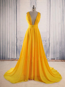 sexy yellow prom dress