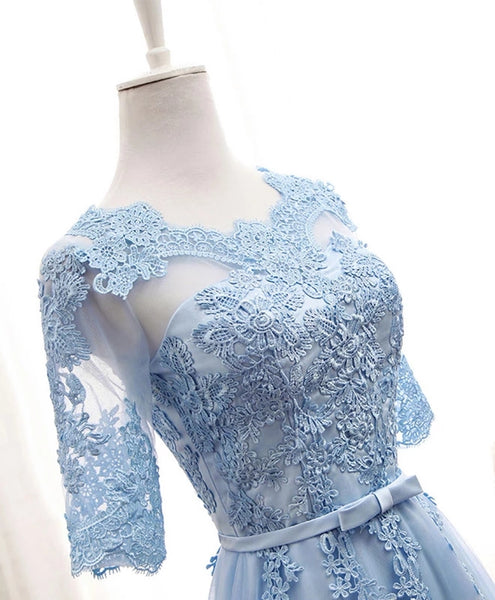 Pretty Lace Top Tulle 1/2 Sleeves Formal Dress, Blue Wedding Party Dress