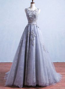 grey tulle and lace long prom dress