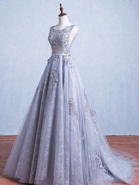 Elegant Grey Tulle Round Neckline Long Prom Dress with Lace, Party Dress 2020