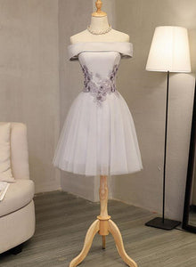 grey tulle short party dress
