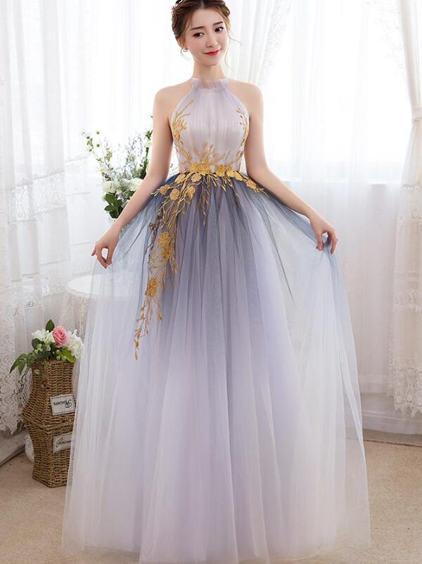 Beautiful Gradient Halter Tulle Evening Gown with Lace, Long Prom Dress 2020