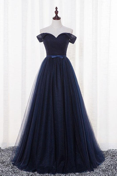 Beautiful Navy Blue Tulle Long Party Dress, Simple Off Shoulder Blue Bridesmaid Dress 2019