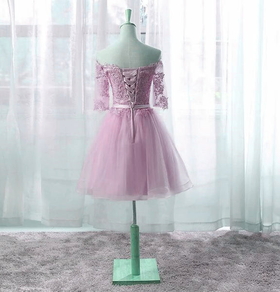 Cute Pink Knee Length Short Sleeves Party Dress, Tulle Prom Dress 2020