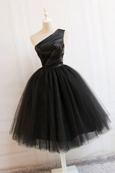 Black Tulle One Shoulder Elegant Tea Length Party Dress, Black Formal Dress