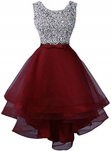 Wine Red Sequins Shiny Top High Low Homecoming Dress, Short Prom Dress