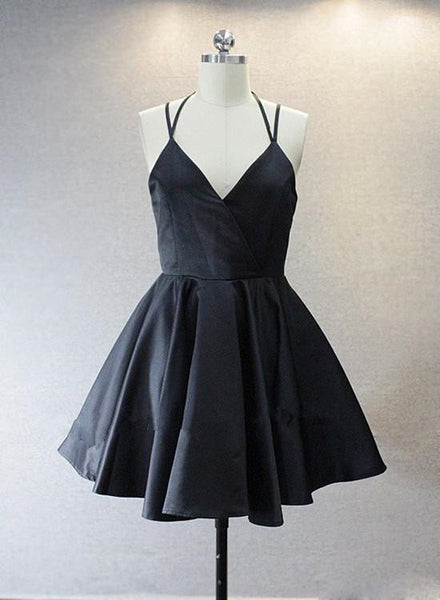 Black Straps V-neckline Satin Short Cute Prom Dress 2019, Lovely Party Dress 2019