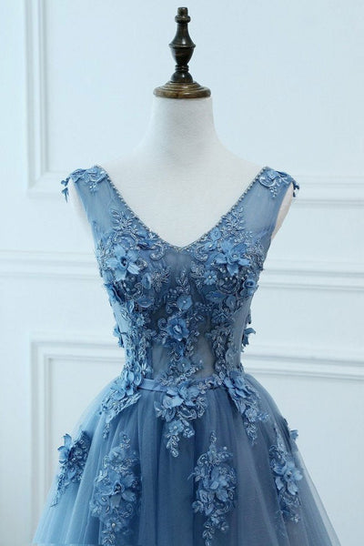 Blue Tulle V-neckline New Style Party Dress 2019, Tulle Formal Dress
