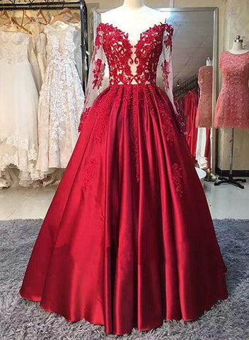 Charming Vintage Style Red A-line Floor Length Party Gown, Prom Dresses 2019