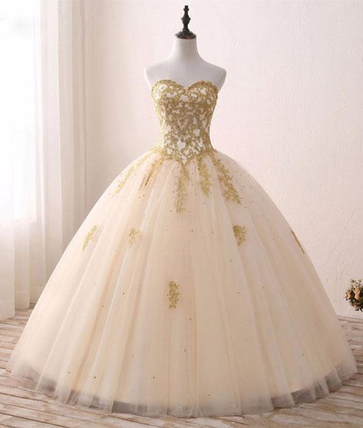 Beautiful Light Champagne Ball Gown Party Dress, Sweet 16 dress with Gold Applique