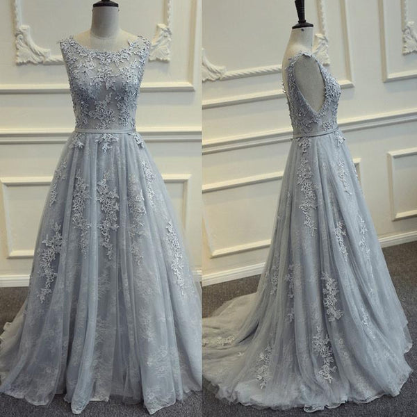 Grey Backless Long Lace and Tulle Party Dress, Beautiful Formal Gown 2019